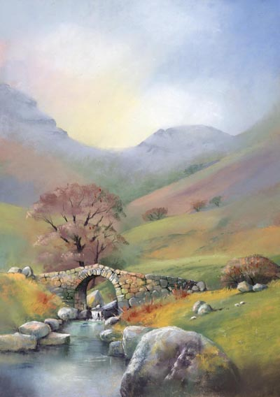 Lingcove Bridge, Cumbria, pastel by Jenny Keal