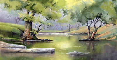 "River Edw at the Gleishen (Pastel by Jenny Keal 14"" x 8"")"