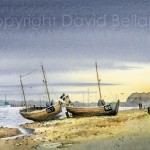 Beach Boats at Rye, watercolour by David Bellamy