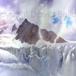 Bec Rouge & Glacier de Tour, watercolour by David Bellamy
