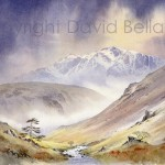 Bow Fell from Langstrath, watercolour by David Bellamy