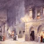 Backstreets of Cairo, watercolour by David Bellamy