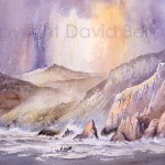 Creeling off Porthliskey, watercolour by David Bellamy