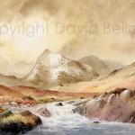 Crib Goch and Nant y Gwyryd, watercolour by David Bellamy