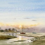 Early morning Angle, Pembrokeshire, watercolour by David Bellamy