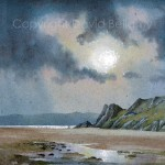 Great Tor, Gower, watercolour by David Bellamy