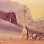 Jebel um Kharg, Jordan, watercolour by David Bellamy