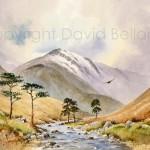 Luibeg Burn, Cairngorms, watercolour by David Bellamy