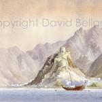 Mutrah Fort, Oman, watercolour by David Bellamy