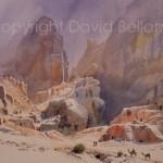 Outer Siq, Petra, watercolour by David Bellamy
