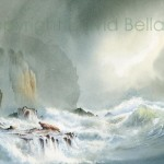 Pounding Waves, St Brides Bay, watercolour by David Bellamy