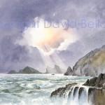 Shafts of Sunlight, Dinas Fach, watercolour by David Bellamy
