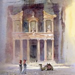 The Treasury, Petra, watercolour by David Bellamy