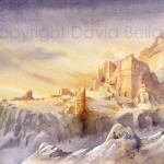 Tomb of Uneisha, Petra, watercolour by David Bellamy