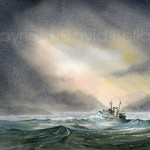 Trawler, homeward bound, watercolour by David Bellamy