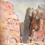 Wadi Musa, Petra, watercolour by David Bellamy